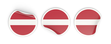 Flag of latvia, three round labels isolated on white. 3D illustration Stock Photo
