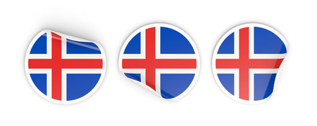 Flag of iceland, three round labels isolated on white. 3D illustration