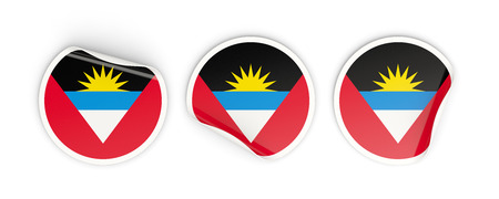 antigua: Flag of antigua and barbuda, three round labels isolated on white. 3D illustration Stock Photo
