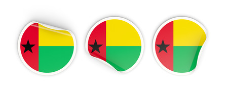 Flag of guinea bissau, three round labels isolated on white. 3D illustration