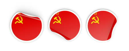 Flag of ussr, three round labels isolated on white. 3D illustration Stock Photo
