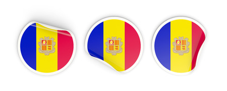 Flag of andorra, three round labels isolated on white. 3D illustration