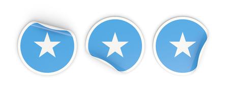 Flag of somalia, three round labels isolated on white. 3D illustration