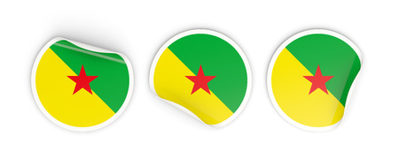 Flag of french guiana, three round labels isolated on white. 3D illustration Stock Photo