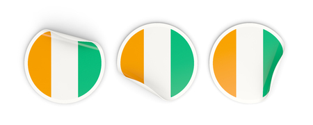 Flag of cote d Ivoire, three round labels isolated on white. 3D illustration