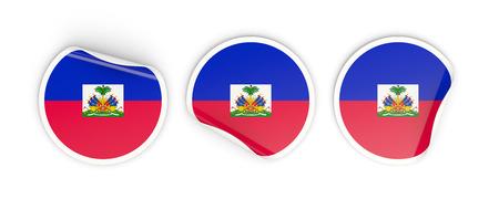 Flag of haiti, three round labels isolated on white. 3D illustration Stock Photo