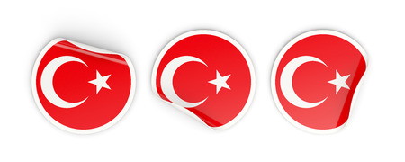 Flag of turkey, three round labels isolated on white. 3D illustration Stock Photo