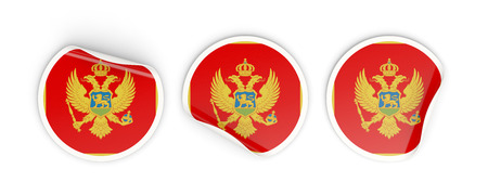 Flag of montenegro, three round labels isolated on white. 3D illustration Stock Photo