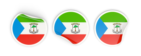 Flag of equatorial guinea, three round labels isolated on white. 3D illustration Stock Photo