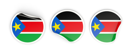 south sudan: Flag of south sudan, three round labels isolated on white. 3D illustration Stock Photo