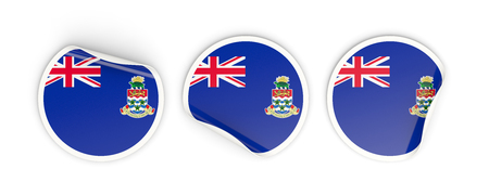 cayman islands: Flag of cayman islands, three round labels isolated on white. 3D illustration