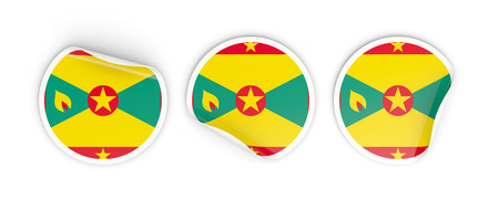 grenada: Flag of grenada, three round labels isolated on white. 3D illustration Stock Photo