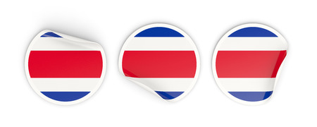 Flag of costa rica, three round labels isolated on white. 3D illustration