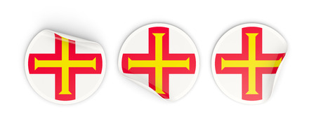 guernsey: Flag of guernsey, three round labels isolated on white. 3D illustration