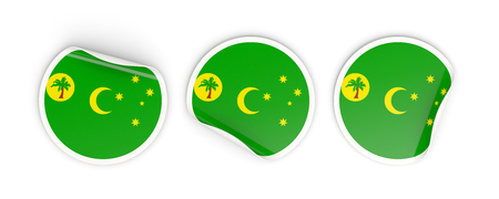 cocos: Flag of cocos islands, three round labels isolated on white. 3D illustration Stock Photo