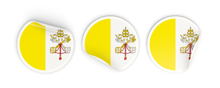 vatican city: Flag of vatican city, three round labels isolated on white. 3D illustration