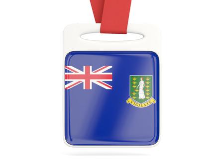 virgin islands: Flag of virgin islands british, square card with red ribbon. 3D illustration