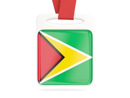guyana: Flag of guyana, square card with red ribbon. 3D illustration