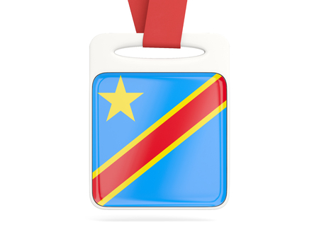 Flag of democratic republic of the congo, square card with red ribbon. 3D illustration Stock Photo