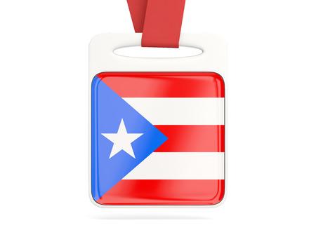bandera de puerto rico: Bandera de Puerto Rico, tarjeta cuadrada con cinta roja. ilustración 3D Foto de archivo