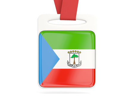 equatorial guinea: Flag of equatorial guinea, square card with red ribbon. 3D illustration Stock Photo