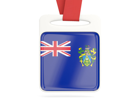 pitcairn: Flag of pitcairn islands, square card with red ribbon. 3D illustration Stock Photo