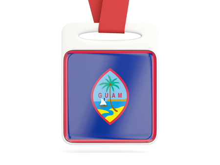 guam: Flag of guam, square card with red ribbon. 3D illustration