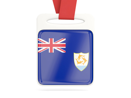 anguilla: Flag of anguilla, square card with red ribbon. 3D illustration Stock Photo