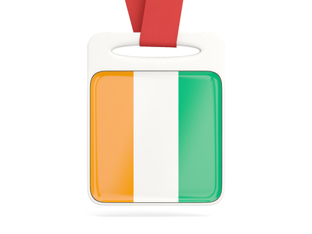 Flag of cote d Ivoire, square card with red ribbon. 3D illustration