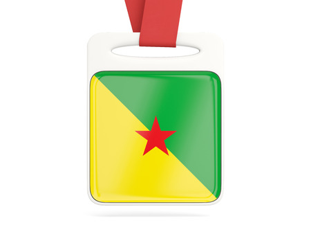 guiana: Flag of french guiana, square card with red ribbon. 3D illustration