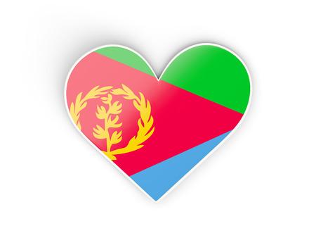 Flag of eritrea, heart shaped sticker isolated on white. 3D illustration