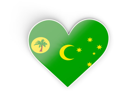 cocos: Flag of cocos islands, heart shaped sticker isolated on white. 3D illustration Stock Photo