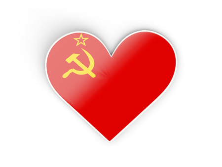 Flag of ussr, heart shaped sticker isolated on white. 3D illustration Stock Photo