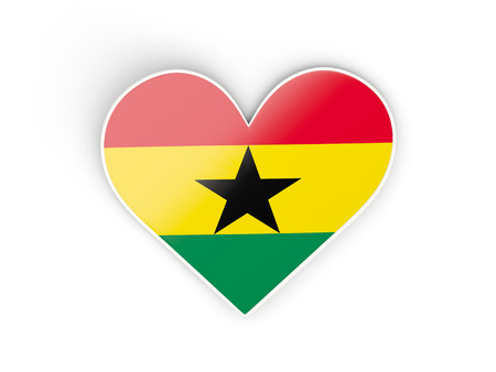 Flag of ghana heart shaped sticker isolated on white 3d illustration stock photo picture and royalty free image image 63222507