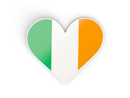 Flag of ireland, heart shaped sticker isolated on white. 3D illustration
