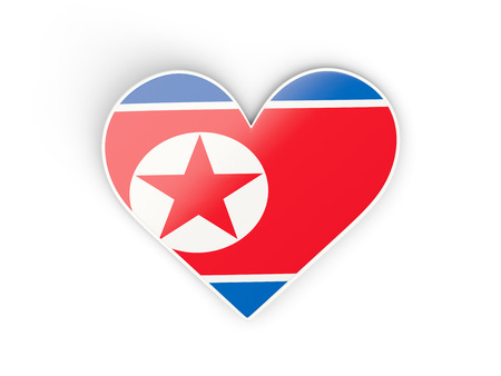 Flag of north korea, heart shaped sticker isolated on white. 3D illustration Stock Photo