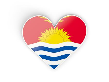 Flag of kiribati, heart shaped sticker isolated on white. 3D illustration
