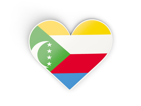 Flag of comoros, heart shaped sticker isolated on white. 3D illustration Stock Photo