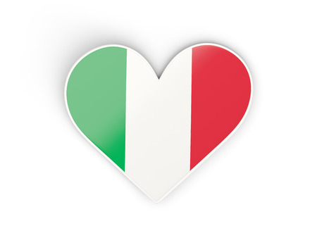 Flag of italy, heart shaped sticker isolated on white. 3D illustration Stock Photo