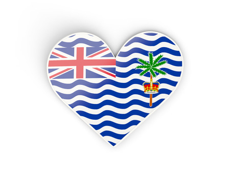 indian ocean: Flag of british indian ocean territory, heart shaped sticker isolated on white. 3D illustration