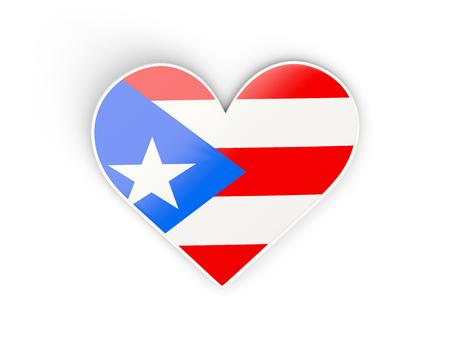 bandera de puerto rico: Bandera de Puerto Rico, pegatina en forma de corazón aislado en blanco. ilustración 3D Foto de archivo
