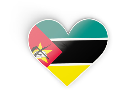 Flag of mozambique, heart shaped sticker isolated on white. 3D illustration