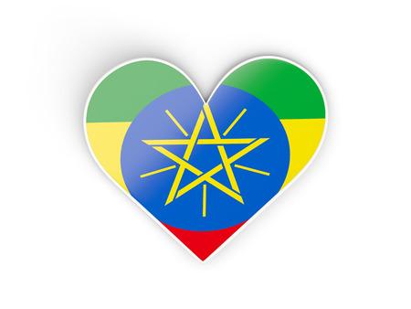 national flag ethiopia: Flag of ethiopia, heart shaped sticker isolated on white. 3D illustration Stock Photo