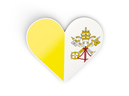 Flag of vatican city, heart shaped sticker isolated on white. 3D illustration