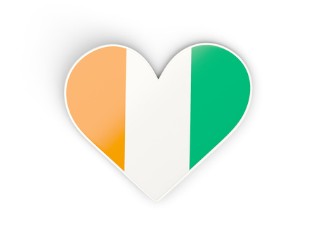 Flag of cote d Ivoire, heart shaped sticker isolated on white. 3D illustration