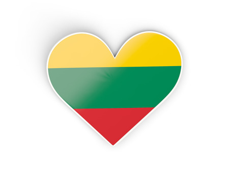 Flag of lithuania, heart shaped sticker isolated on white. 3D illustration Stock Photo