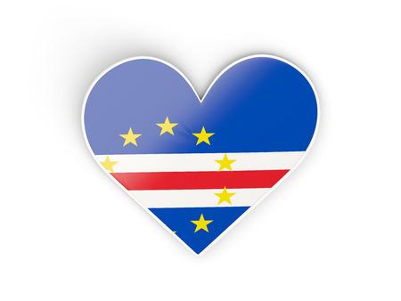Flag of cape verde, heart shaped sticker isolated on white. 3D illustration Stock Photo
