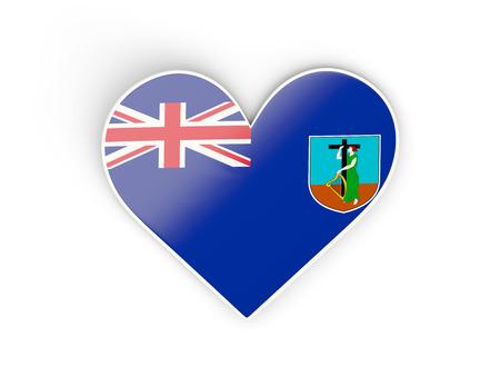 Flag of montserrat, heart shaped sticker isolated on white. 3D illustration
