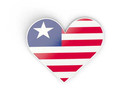 Flag of liberia, heart shaped sticker isolated on white. 3D illustration