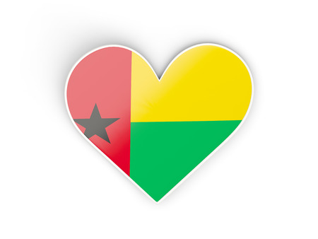 Flag of guinea bissau, heart shaped sticker isolated on white. 3D illustration Stock Photo